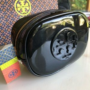 Tory Burch Black Patent Leather cosmetic Case NEW!
